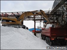 Lorry being filled with salt