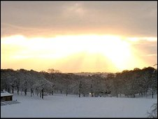 A snowy Roundhay Park taken by David Lofthouse