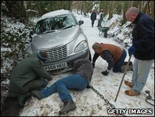 Struggling to free a car that skidded off the road