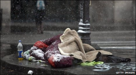 Homeless person in snow