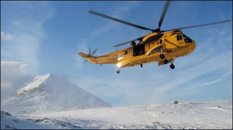 Sea King hovering in mountains
