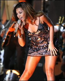Beyonce during a live outdoor performance at BBC Television Centre, November 2006