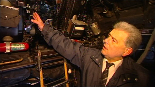 Barry James inside the Vulcan at the Midland Air Museum