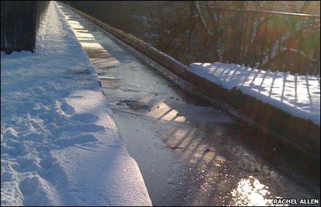 A frozen Pontcysyllte Aqueduct
