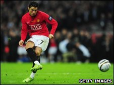 Cristiano Ronaldo in action for Manchester United (March 2009)