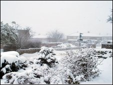 A snow scene in Queensbury, West Yorkshire