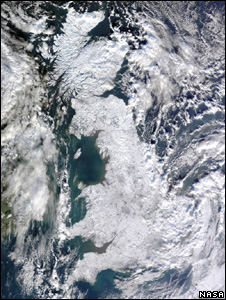 Satellite image of snow-covered Britain (Image: Nasa)