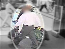 CCTV footage of a shoplifter