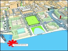 Map of the site for the V&A at Dundee