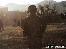 US troops in village of Pushtay, Afghanistan