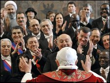 Pope Benedict XVI greets ambassadors to The Holy See during his annual address to diplomatic corps at the Vatican, 11 January 2010