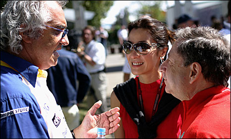 Flavio Briatore (left) with new FIA president Jean Todt (right)