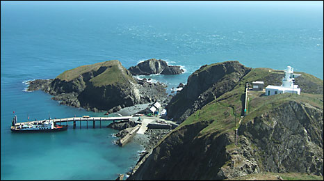 Lundy's lighthouse and jetty