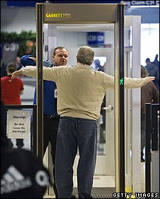 Man is searched at airport