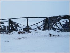 Collapsed shed at farm owned by Malcolm Hay