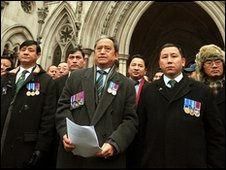 Retired Gurkhas outside the High Court on 11 January 2010