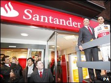 Santander sign unveiled at branch in London