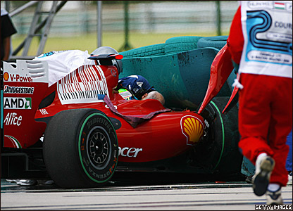 Felipe Massa crashes during qualifying for the 2009 Hungarian Grand Prix