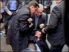 Mr Yanukovych after being hit by an egg in 2004