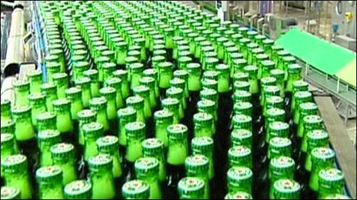 Bottles of Heineken in a factory
