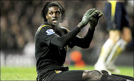 Emmanuel Adebayor in action for Manchester City