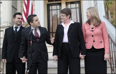 The two gay couples testifying in San Francisco: (from left) Paul Katami, Jeffrey Zarrillo, Kris Perry and Sandy Stier