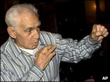 Joe Rollino shadow boxes at his 103rd birthday in New York, March 2008 (Provided by Charles Denson)
