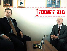 "Israeli Deputy Foreign Minister Danny Ayalon meeting Turkish Ambassador Ahmet Oguz Celikkol, captioned ""the height of humiliation"" in Israeli newspaper Israel Hayom [Image: Lior Mizrahi/Israel Hayom]"
