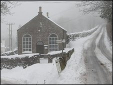 Snow around Dinedore Hill in Herefordshire