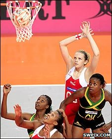 Jo Harten in action for England against Jamaica