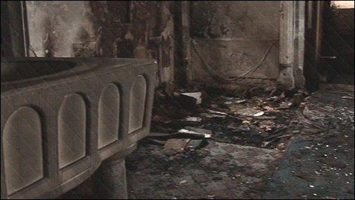 Fire damage at Sheering church