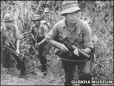 Gurkha soldiers fighting in Asian jungles during World War II