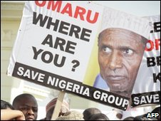 Rally outside Nigeria's national assembly in the capital Abuja - 12 January 2010