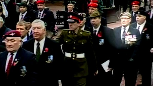 Roger Day (highlighted) amid Armistice Day marchers