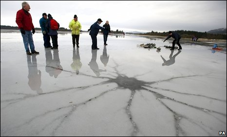 Cracks in the ice on the Lake of Menteith