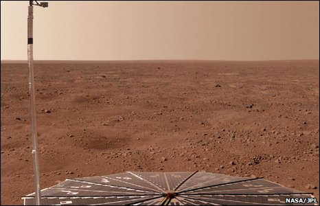Panoramic image of Mars, produced  by combining images taken by Nasa's Phoenix lander