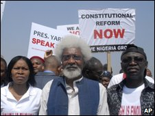 Nigerian Nobel Prize laureate Wole Soyinka joins protesters in Abuja, Nigeria, 12 Jan.