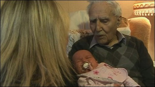 Ted Leeson with his youngest great great grandaughter Cotie