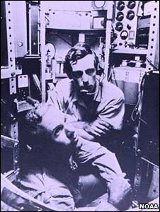 Don Walsh (left) and Jacques Piccard (right) in the bathyscaphe Trieste (Noaa Ship Collection)