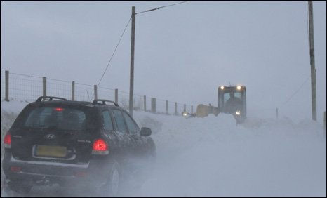 A snow-bound vehicle in the Preseli hills area of north Pembrokeshire
