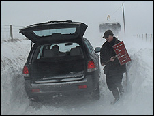 Snow-bound car in north Pembrokeshire