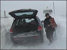 Snow-bound car in north Pembrokeshire