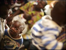 Ghanaian mother and children in Princess Marie Louise Children's Hospital in Accra, file image