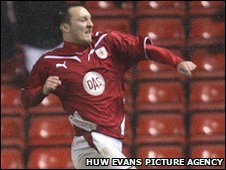 Gavin Williams celebrates his late equaliser for Bristol City against Cardiff