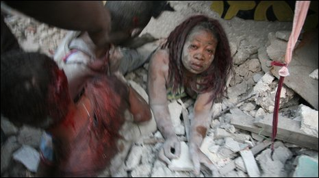 Image posted on Haitian website Radio Tele Ginen, said to show a survivor of the Haitian earthquake, 12 January