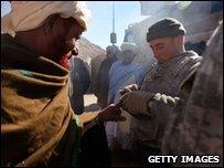US soldier on patrol in Afghanistan