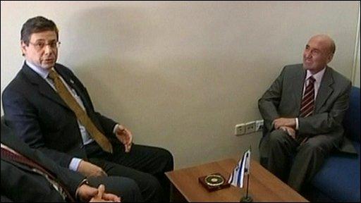 Israel's Deputy Foreign Minister Danny Ayalon and Turkish ambassador, Ahmet Oguz Celikkol
