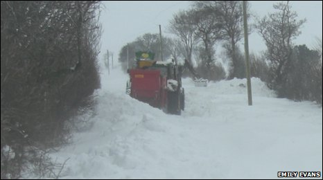 Emil Evans says this tractor became stuck in the high drifting snow at Bryneglwys, near Ruthin