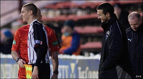 Calum Woods is sent on to the pitch by Dunfermline manager Jim McIntyre