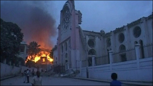 A fire in Haiti after the quake
